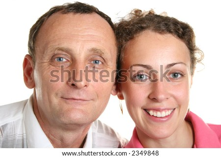 Young woman and her father - stock photo