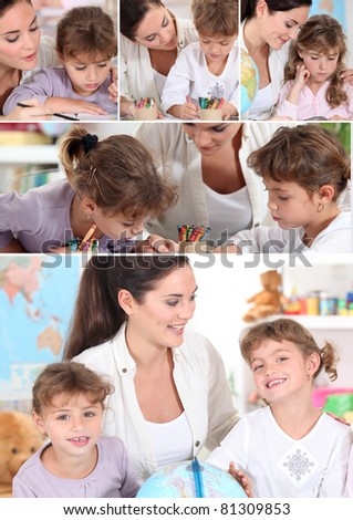 Young woman and little girls coloring - stock photo