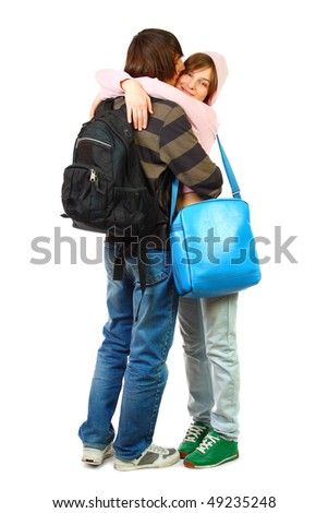 Young woman and man isolated on white - stock photo