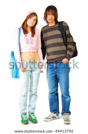Young woman and man standing with bags, isolated on white - stock photo