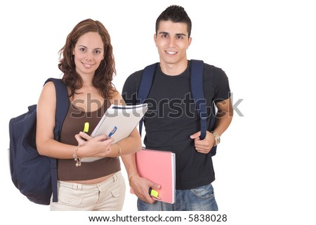 Young woman and man standing with books and bags - Students - over a white background
