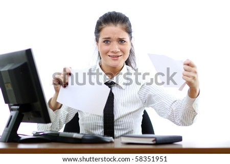 young woman and office computer