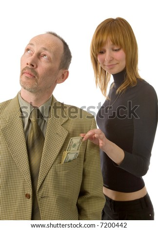 young woman and senior man on white background