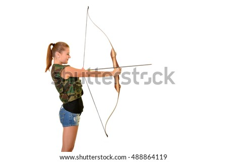 young woman archer isolated on white background
