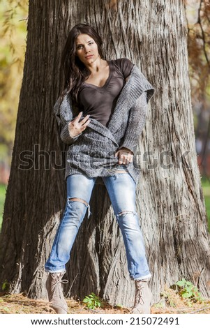 Young woman at autumn park