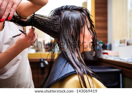 young woman at hairdresser - stock photo