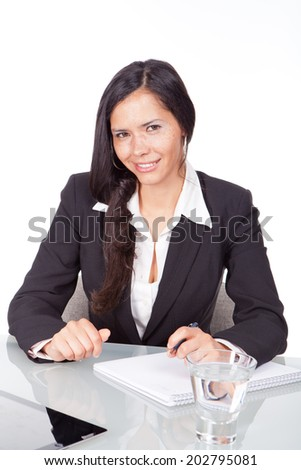 young woman at office desk - stock photo