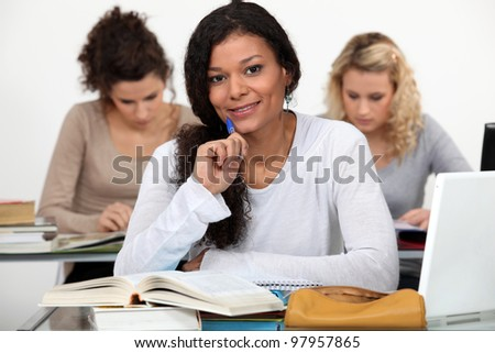 Young woman at school - stock photo