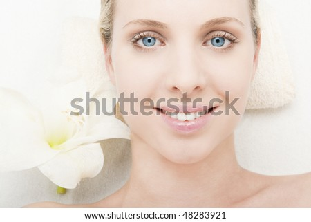 Young woman at spa - stock photo