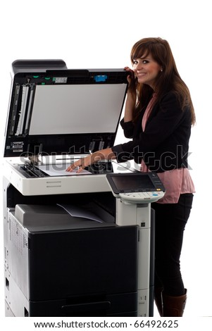 Young woman at the copy machine 9934