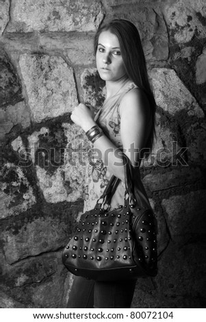 Young woman - b&W - stock photo