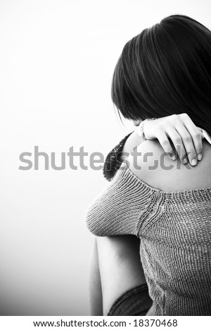 Young woman back portrait, isolated on white. - stock photo