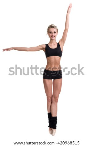 young woman ballerina ballet dancer dancing on white background - stock photo