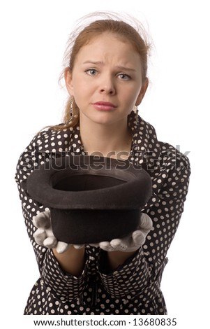 young woman begging alms with plaintive face and hat in hands isolated on white - stock photo