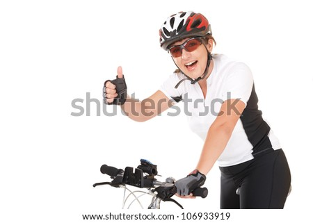 Young woman biker with her bike isolated over white background - stock photo