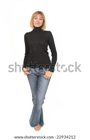 Young woman, blond hair - stock photo