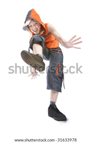 Young woman break dancing isolated against a white background. - stock photo