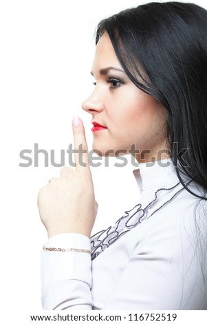 Young woman brunette girl asking for silence white isolated - stock photo