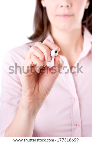 Young woman business writing something, on the screen isolated on white background.