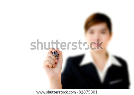 Young woman business writing something, on the screen isolated on white background. - stock photo