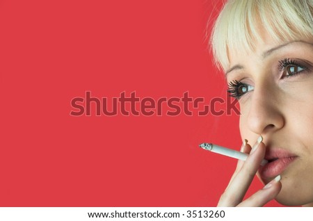 Young woman by cigarette.