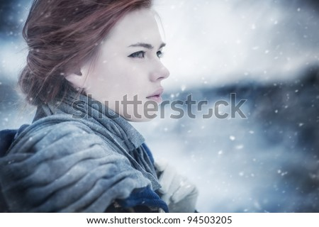 Young woman calm winter portrait. - stock photo