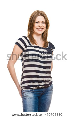Young woman casual portrait , beautiful model posing in studio over white background .