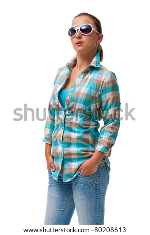 young woman casually dressed on white background - stock photo