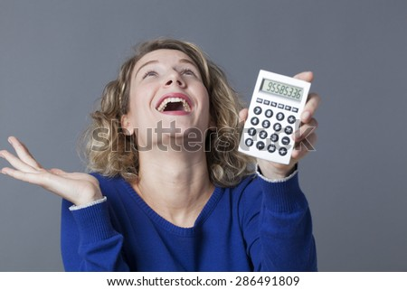 young woman celebrating her first financial win - stock photo
