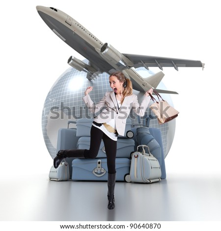 Young woman celebrating her trip, with a pile of luggage, an Earth and a plane taking off in the background - stock photo