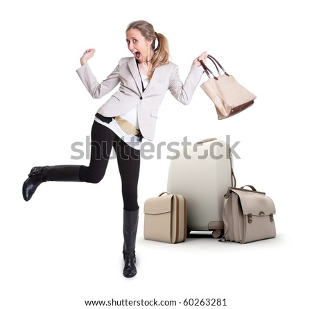Young woman celebrating her vacation departure