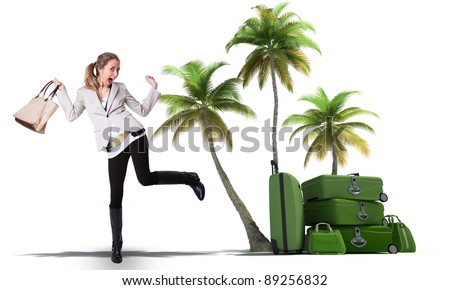 Young woman celebrating her vacation departure - stock photo