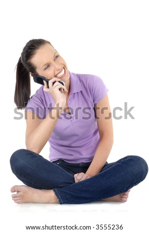 Young woman, cellphone, talking, smiling, isolated