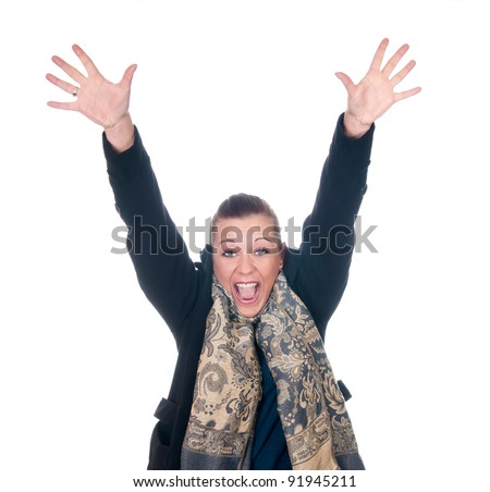 young woman cheering - stock photo