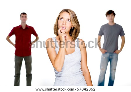 Young woman choose from two young men  - isolated - stock photo