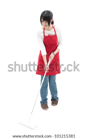 young woman cleaning, isolated on white background - stock photo
