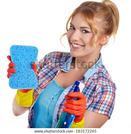 young woman cleaning on white  - stock photo