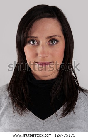 Young woman close up portrait. Passport photo. - stock photo