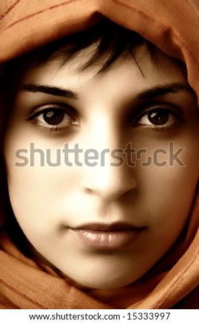 young woman close up portrait, studio picture - stock photo