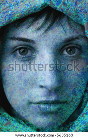young woman close up portrait turned into stone or bronze - stock photo