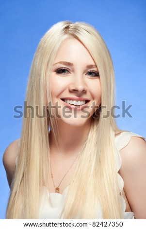 young woman close up studio portrait - stock photo
