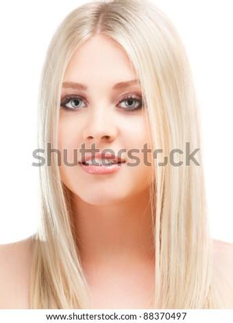 young woman close up studio portrait - stock photo