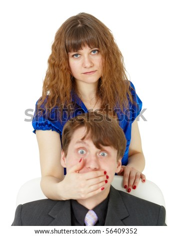 Young woman closed her mouth to the man