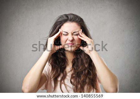 young woman concentrated - stock photo