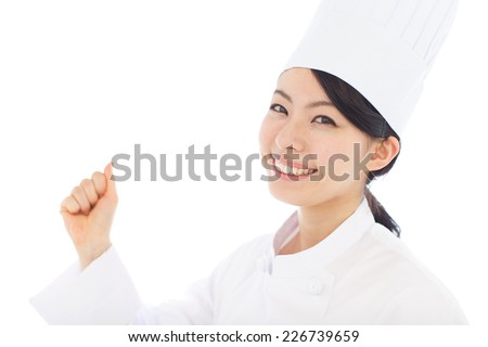 young woman cook isolated on white background