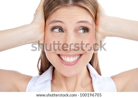 Young woman covering ears with hand isolated on white background. - stock photo