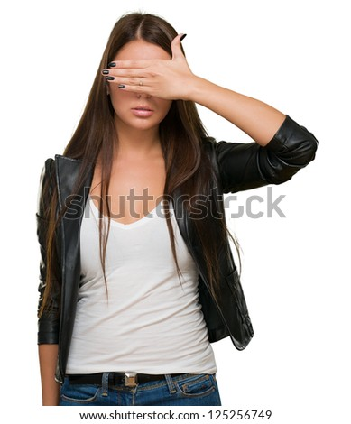Young Woman Covering Her Eyes On White Background - stock photo