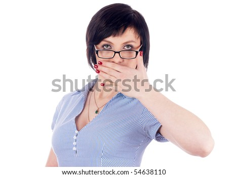 Young woman covering her mouth with her hand - stock photo