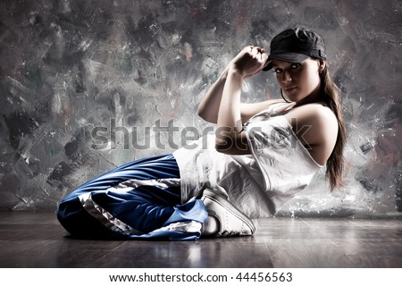 Young woman dancer. Contrast colors. - stock photo