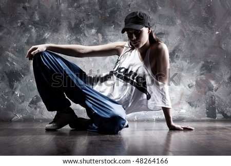 Young woman dancer. Dance inscription on t-shirt. - stock photo